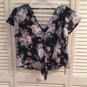 Floral Cropped Tie-Front Crop Top